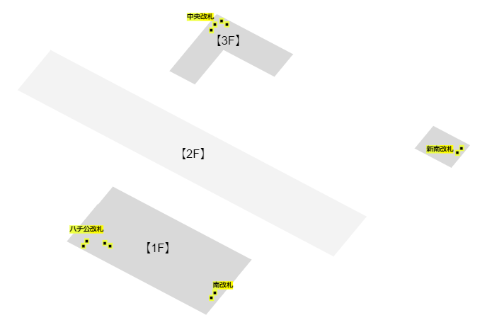 JR線渋谷駅の改札の位置と階層構造MAP