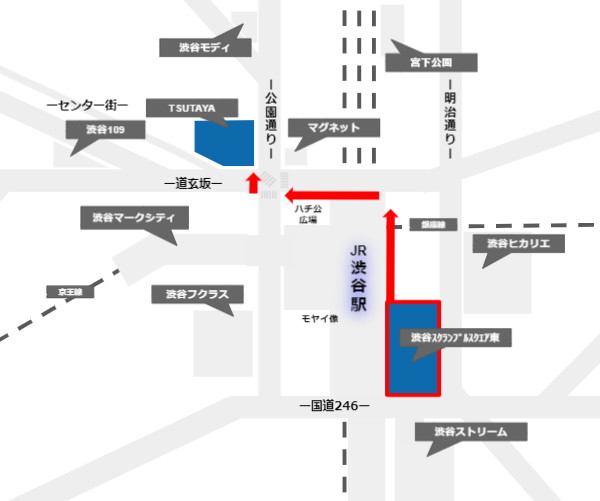 渋谷スクランブルスクエアからQフロント(TSUTAYA)への経路