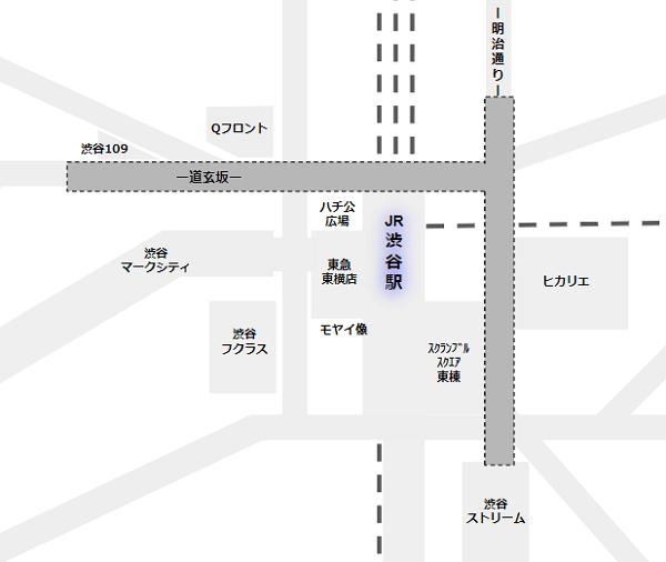 渋谷駅構内図(地下鉄出口の範囲)