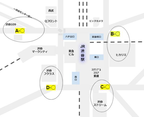 渋谷駅周辺の地下出口の4つのエリア区分