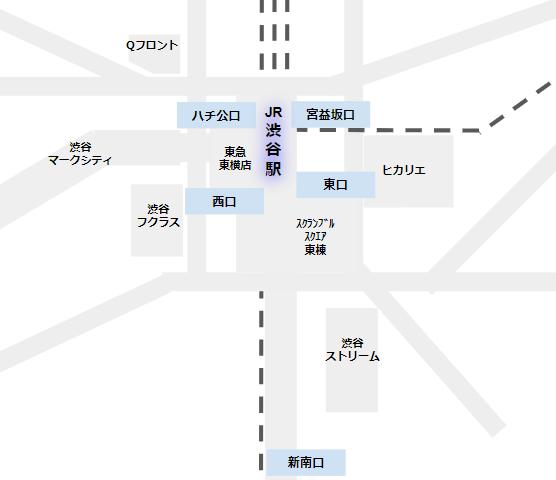 渋谷駅の構内図(JR線出口の位置関係)
