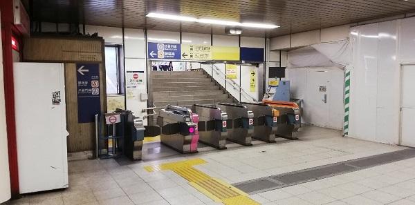 渋谷駅、銀座線の降車専用改札(JR中央改札前)