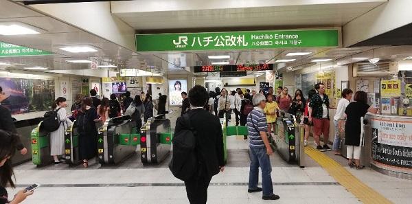 JR線渋谷駅のハチ公改札