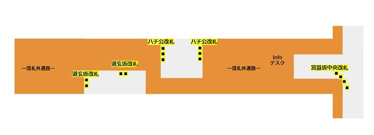 渋谷駅構内図(半蔵門/田園都市線の改札の位置関係)