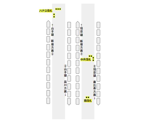 渋谷駅の構内図(JR線、改札の位置関係)