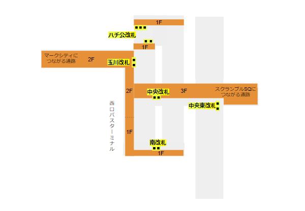 渋谷駅の構内図(JR線、改札の階層、位置関係)