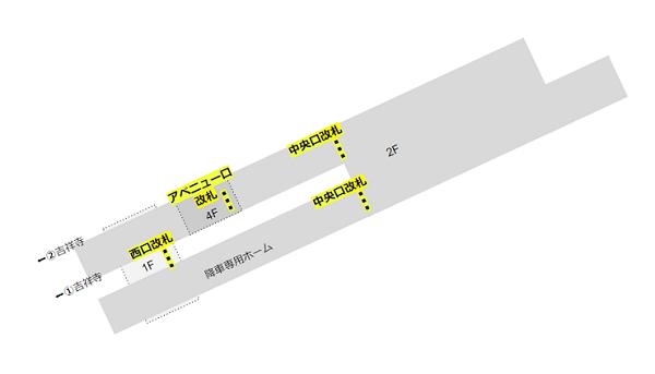渋谷駅の構内図(井の頭線、改札の位置関係)