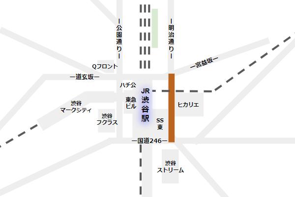 渋谷駅の構内図(東横/副都心線の位置)