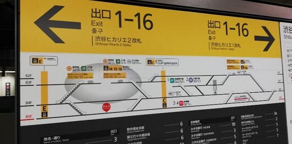 渋谷駅の東横/副都心線の駅ホーム内のナビ