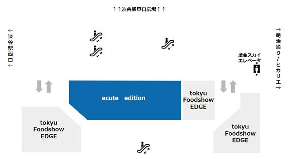 渋谷駅の駅ナカ施設ecuteマップ