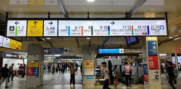 品川駅の構内、JR在来線の路線ごとのナビ