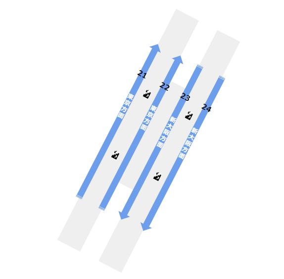 品川駅の構内図(東海道新幹線のホーム階)
