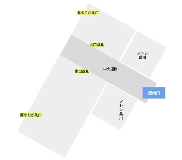 品川駅の構内図(新幹線の改札階)