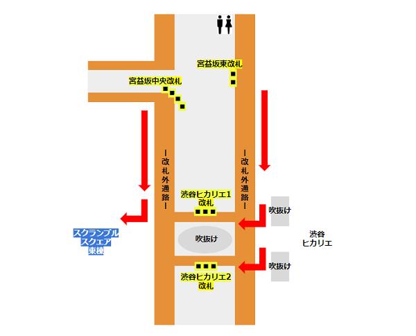 渋谷駅の東横/副都心線の地下通路マップ