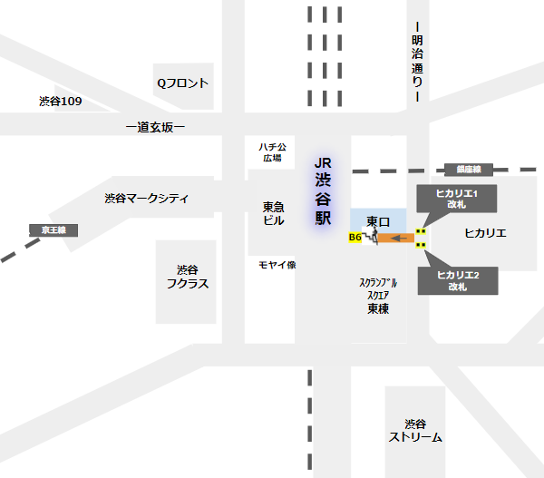 渋谷駅東口への行き方(東急東横/副都心ヒカリエ改札から)