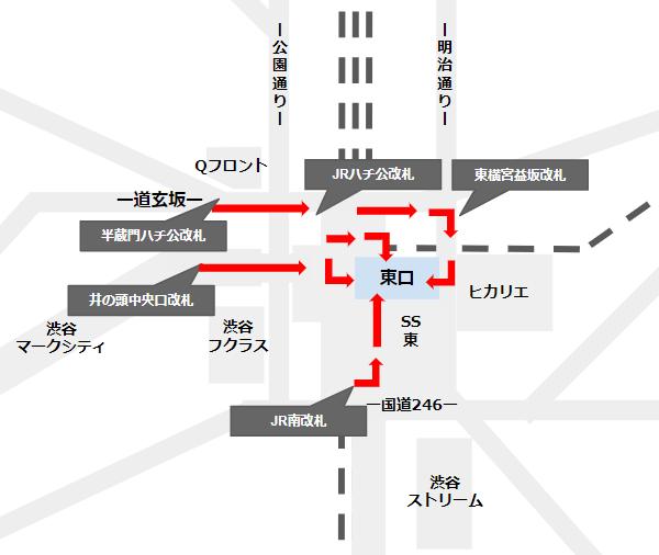 渋谷駅東口への行き方(主要改札から)