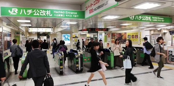 JR渋谷駅のハチ公改札前