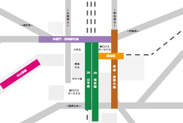 渋谷駅構内図(路線と通り)