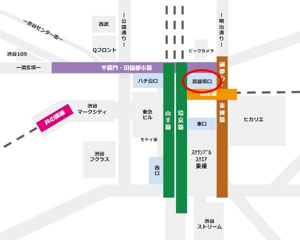 渋谷駅周辺と乗り入れ路線との位置関係マップ