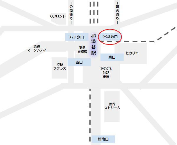 渋谷駅の宮益坂口の位置