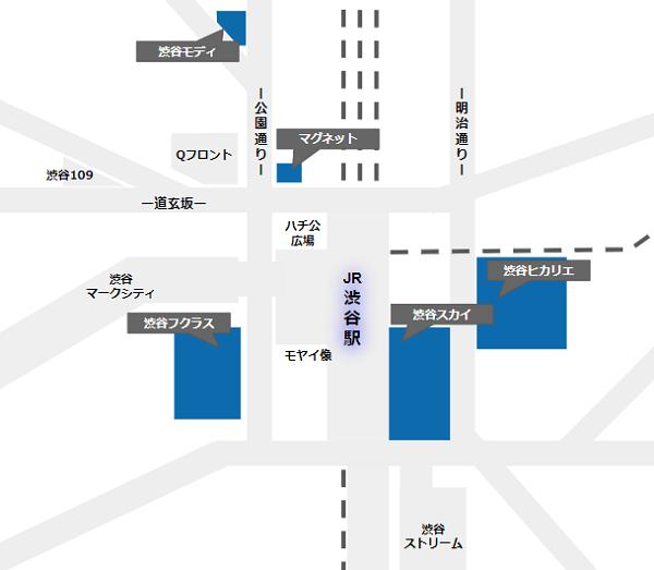 渋谷駅周辺の展望施設マップ