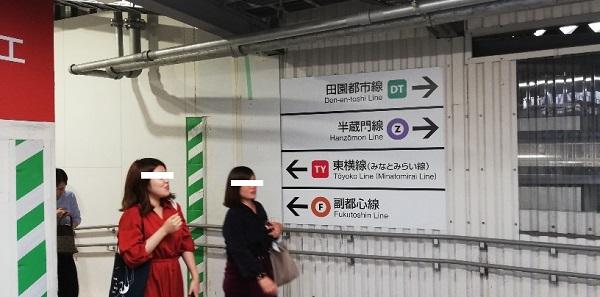 渋谷駅の東横線、半蔵門線への誘導ナビ看板