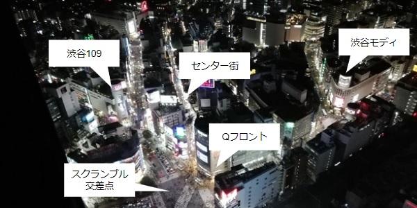 渋谷スカイからの夜景(スクランブル交差点)