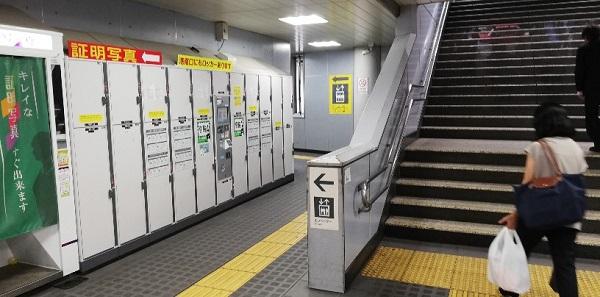 品川駅の改札外のロッカー(紀伊国屋の前、階段の横