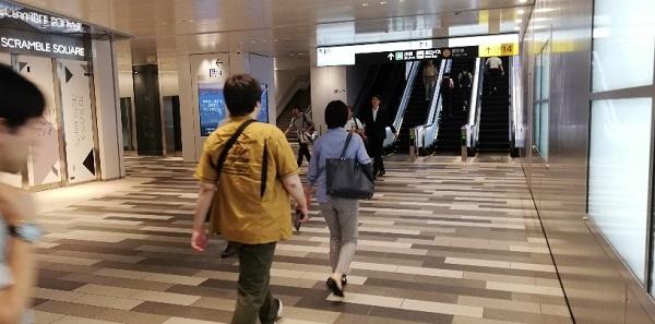 渋谷駅、東急東横/副都心線B3Fエスカレーター前