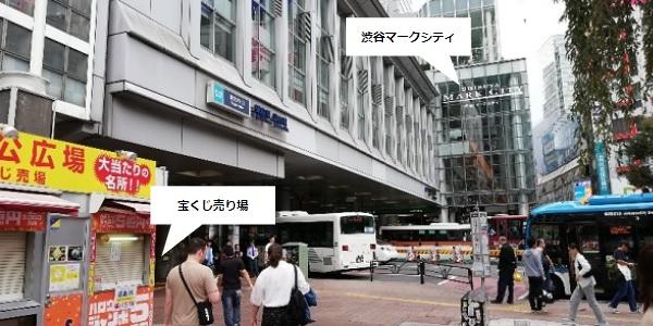 渋谷駅のハチ公広場(宝くじ売り場前)