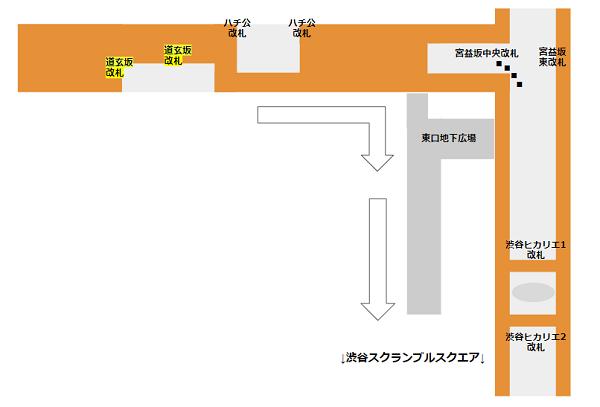 渋谷駅半蔵門線道玄坂改札から地下広場経由で東口へ向かう経路