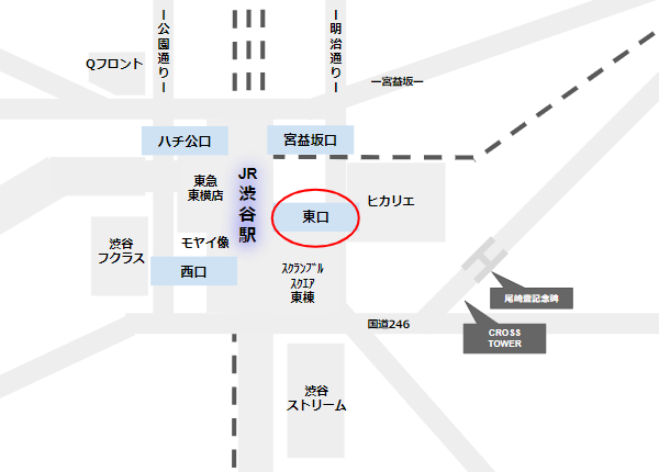 渋谷駅の東口、クロスタワーと尾崎豊記念碑の場所