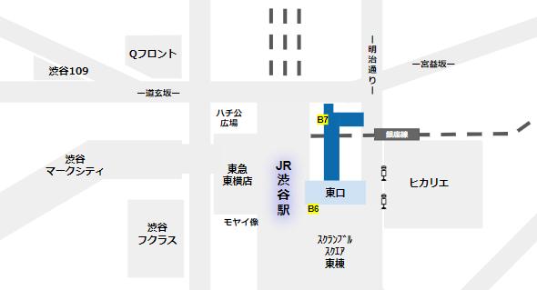 渋谷駅の待ち合わせ場所(東口地下広場の場所)