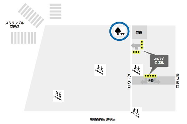 渋谷駅の待ち合わせ場所(ハチ公広場の交番前)