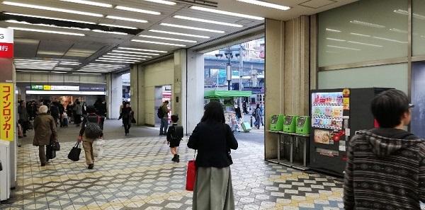 渋谷駅西口のバスのりば前