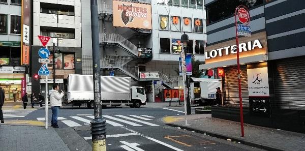 渋谷道玄坂のロッテリア前