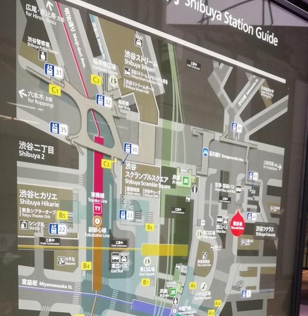 渋谷駅構内図map(フクラスモニター下)