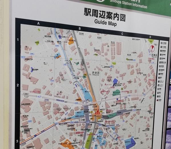 渋谷駅構内図map(JR南改札前)
