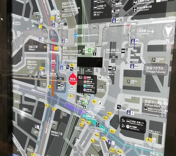 渋谷駅構内図map(B6出口、スクランブルスクエア1F前)