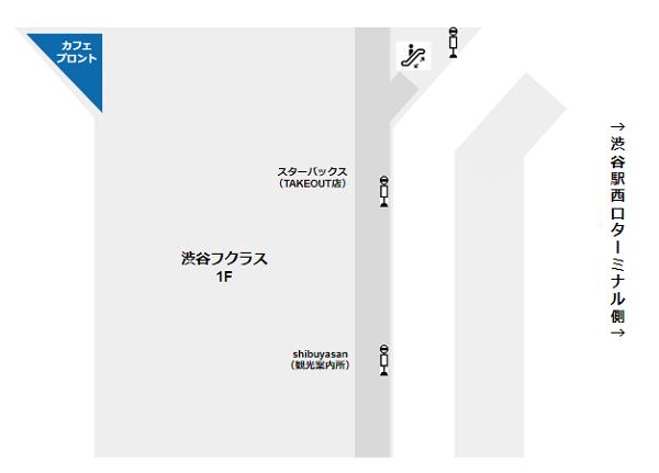 渋谷駅の待ち合わせ場所(フクラス1Fのカフェプロント)