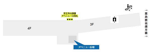 渋谷駅の待ち合わせ場所(マークシティのアベニュー広場)