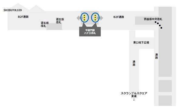 半蔵門/田園都市線渋谷駅ハチ公改札の位置