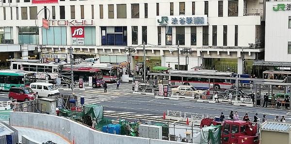 JR渋谷駅の西口バスターミナル