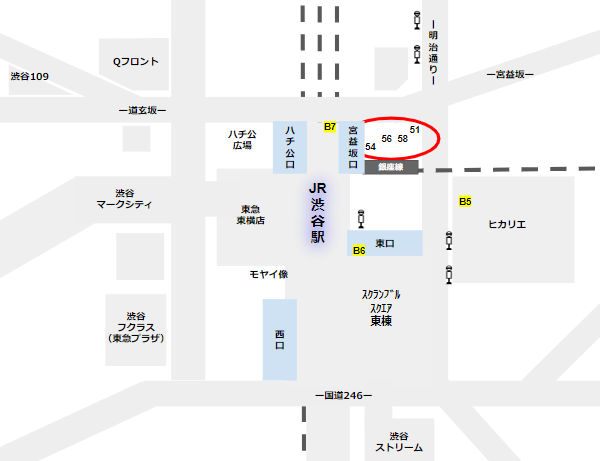 渋谷駅バス乗り場東口51,54,56,58