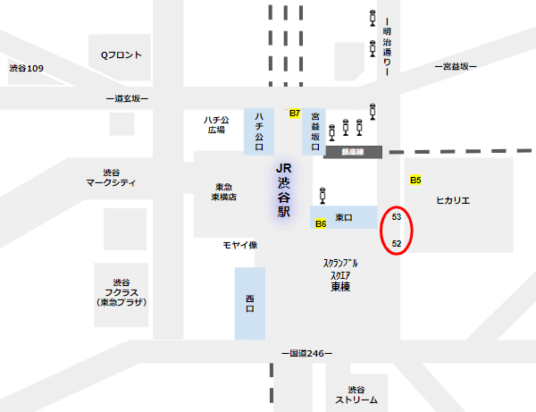 渋谷駅バス乗り場東口52,53