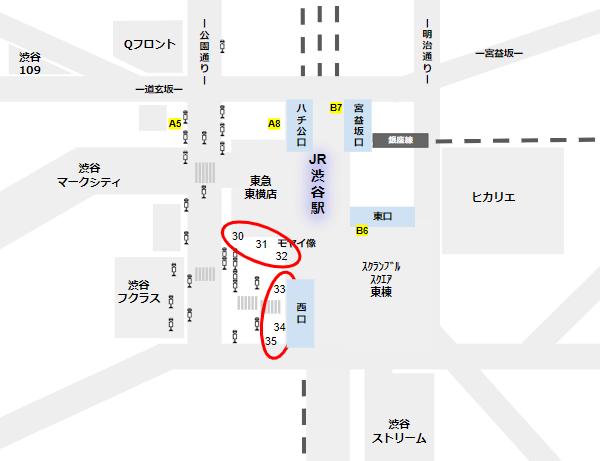 渋谷駅バス乗り場西口30,31,32,33,34,35