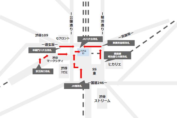 渋谷駅ハチ公口への行き方経路