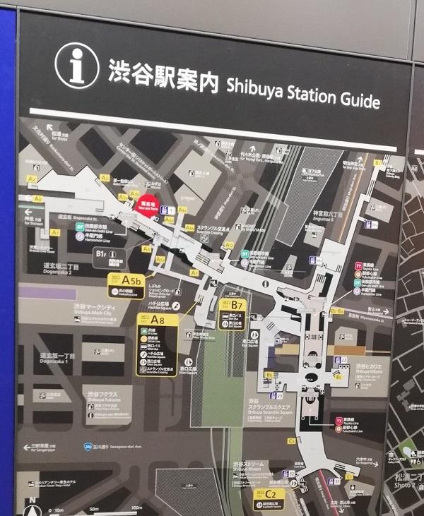 渋谷駅構内図map(半蔵門線道玄坂改札前)