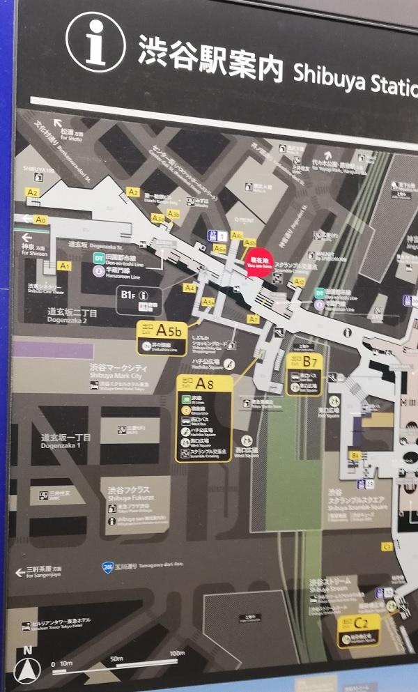 渋谷駅構内図map(半蔵門田園都市線のハチ公改札前)