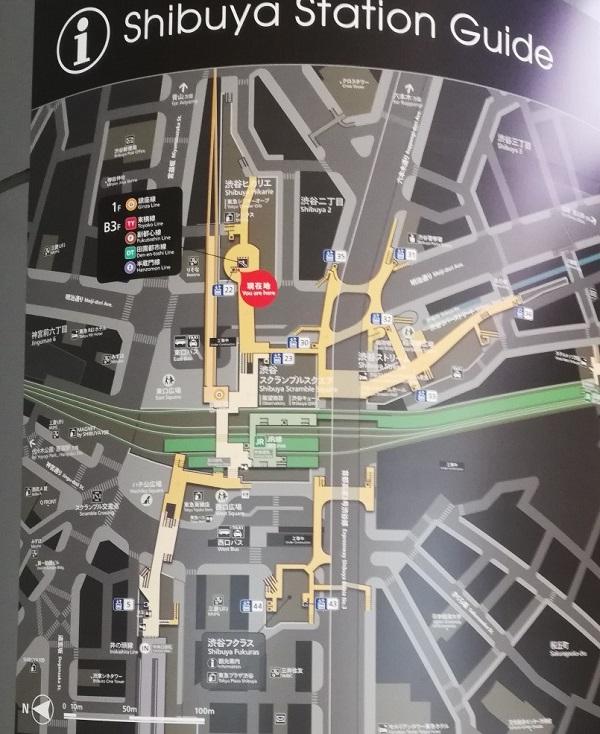 渋谷駅構内図map(ヒカリエ2Fエスカレーター前)